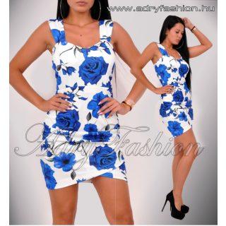 Fehér kék Virágos passzos alul húzott női ruha
