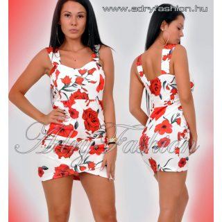 Fehér Virágos passzos alul húzott női ruha