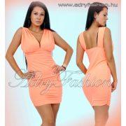 Neon narancs színű elegáns női ruha oldalt húzott