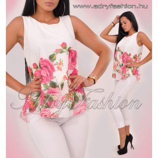 Fehér dupla anyagú alul rózsás muszlin lenge trikó