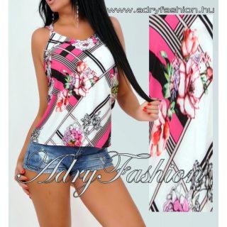 Pink kockás - virágos vékony pántos lenge női felső