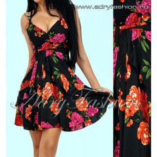 Vékony pántú színes virág mintás női ruha fekete