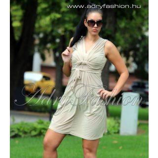 Bézs mellénél csavart női ruha
