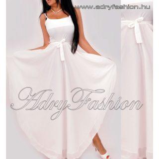 Fehér hátán gumírozott derekán megkötős női ruha