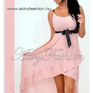 Vékony pántú fodor díszes alkalmi női ruha púder színű