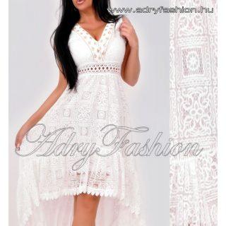 Fehér csipke női ruha elegáns alkalmi ruha arany dísszel