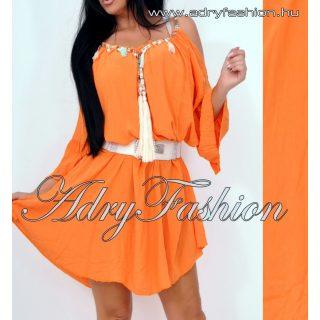 Narancs színű vállán nyitott női ruha - öv nélkül