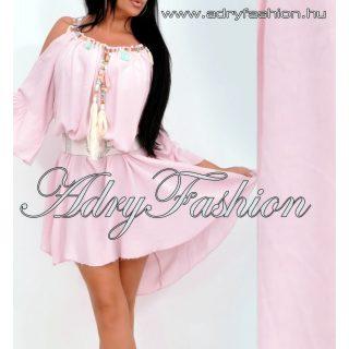 Rózsaszín vállán nyitott női ruha  - öv nélkül