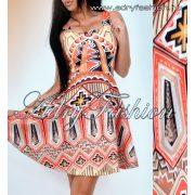 Színes loknis elegáns alkalmi női ruha S-es