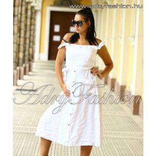 Fehér vállra húzható zsebes női ruha gomb dísszel