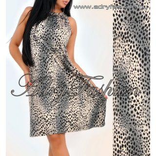 Leopárd mintás A vonalú lenge női ruha