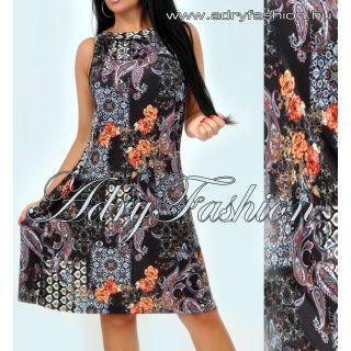 Fekete alapon mintás  A vonalú lenge női ruha
