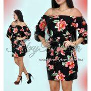 Fekete piros virág mintás vállra húzható  női ruha megkötővel