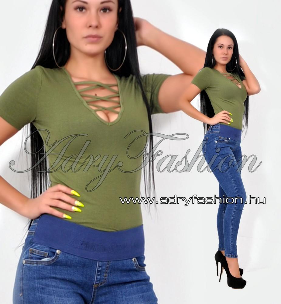686a1ffac5 Keki rövid ujjú elöl keresztpántos női body - AdryFashion női ruha ...