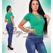Zöld rövid ujjú kereszt pántos női body