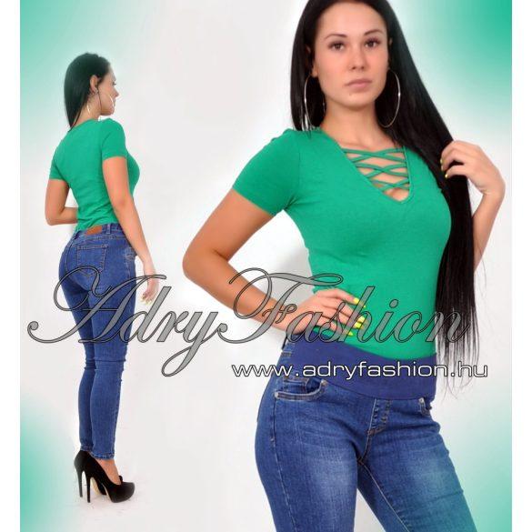 Zöld rövid ujjú kereszt pántos női body - AdryFashion női ruha webáruház 037f999aaf