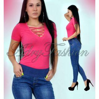 Pink rövid ujjú elöl keresztpántos női body