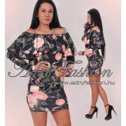 Fekete szines virág mintás fodros elegáns női ruha