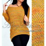 Színes kötött lenge női pulóver mustár