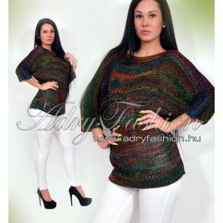 Színes kötött lenge női pulóver - fekete
