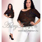 Színes kötött női pulóver - fekete