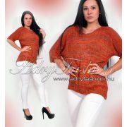 Tégla vörös - Színes kötött lenge női pulóver - tégla vörös