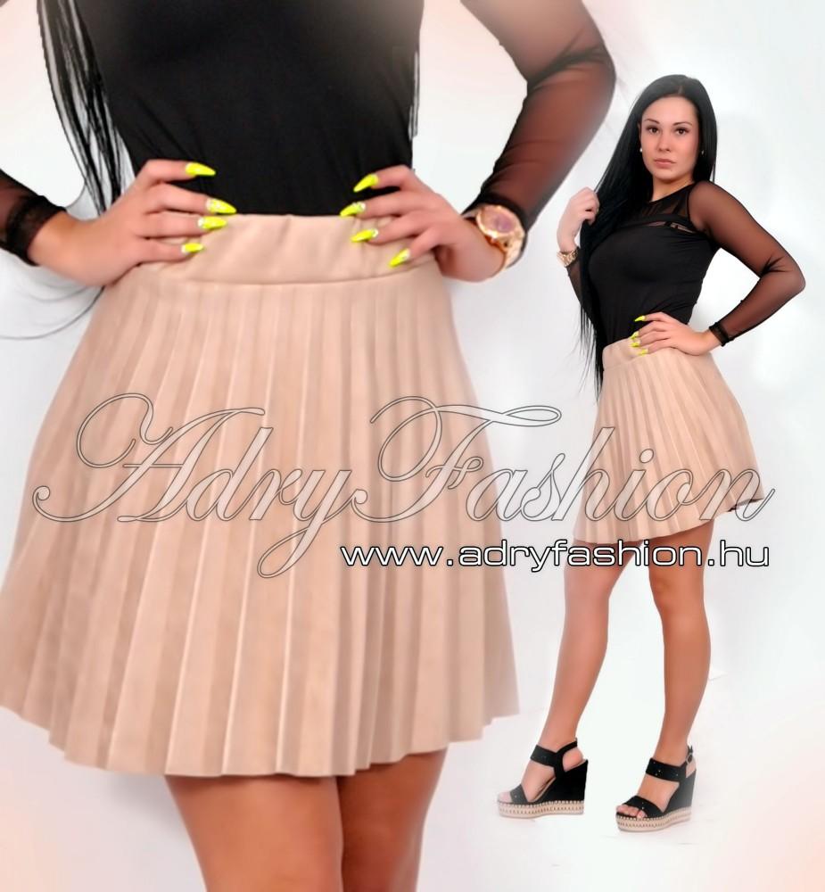 e3a170ca8d Bézs szarvasbőr hatású rakott loknis szoknya - AdryFashion női ruha ...