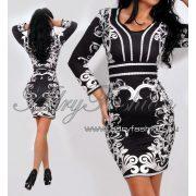 Elegáns Fekete fehér Virág  mintás alkalmi női ruha S/M