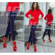 MISSQ Zefír nadrág kék - piros