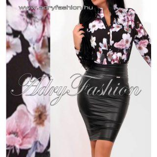 Fekete Szatén női ing mályva virág mintás - fekete színű
