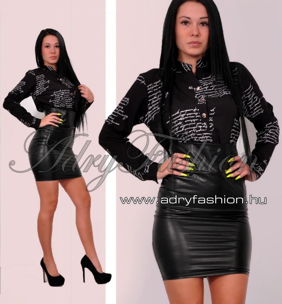 Szatén lenge női ing írott mintás - fekete színű - AdryFashion női ... e845889114