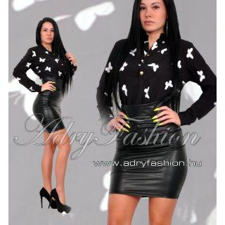 Fekete színű Szatén lenge női ing  pillangó  mintás - fekete színű