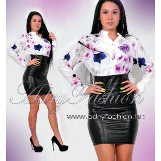 Fehér színű Szatén lenge női ing virág mintás