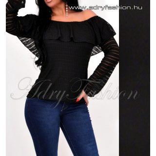 Fekete vállra húzható laza női felső