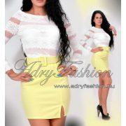 Fehér  színű csíkos csipke elegáns női felső