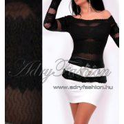 Fekete színű csíkos csipke elegáns női felső