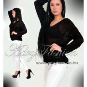 Fekete  színű kötött női pulcsi - felső - tunika