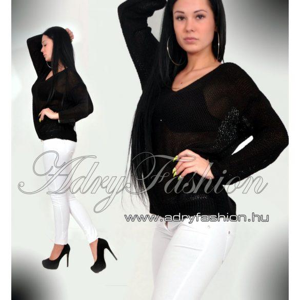 Fekete színű kötött női pulcsi - felső - tunika - AdryFashion női ruha  webáruház 0052113201
