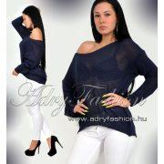 Sötétkék színű kötött női pulcsi - felső - tunika