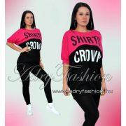 Pink fekete lenge feliratos női ruha