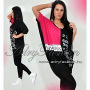 Fekete pink  színű denevér ujjú feliratos női ruha tunika
