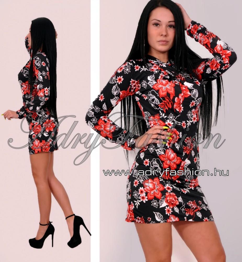 Csavart nyakú fekete virág mintás női ruha - AdryFashion női ruha ... d13d4b256e