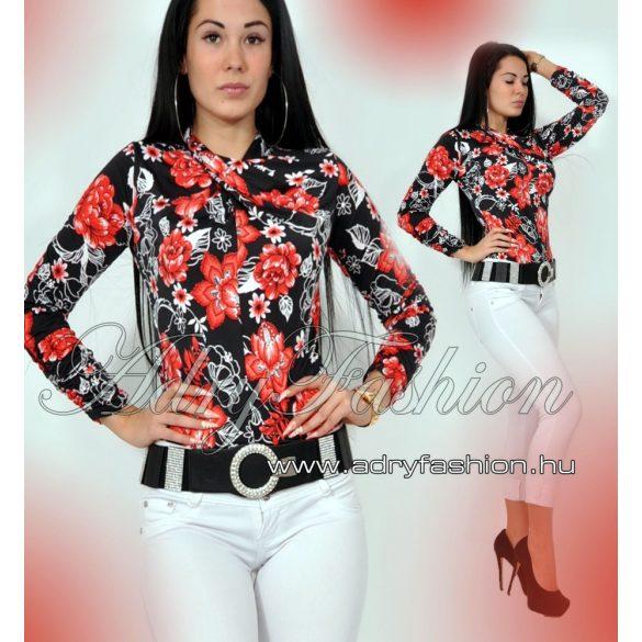 6736832149 Csavart nyakú fekete virág mintás női felső - AdryFashion női ruha ...