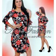 Vállra húzható fekete virág mintás női ruha