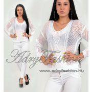 Fehér mintás vékony  kötött fonott női pulcsi