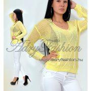 Sárga mintás laza kötött fonott női pulcsi