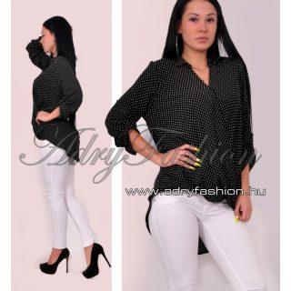 Fekete fehér színű átlapolt kis pöttyös lenge női ing