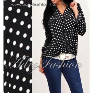 Fekete fehér színű átlapolt nagy pöttyös lenge női ing