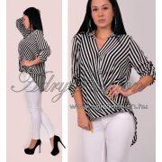 Fehér fekete átlapolt lenge  csíkos   női ing