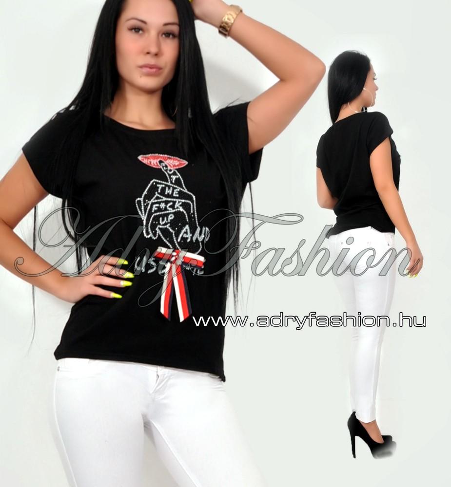 aa0274aef3 Fekete strasszos női póló KISS ME - AdryFashion női ruha webáruház ...